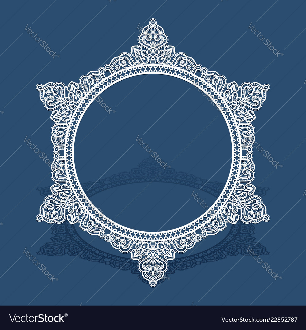 Round lace frame with cutout border pattern