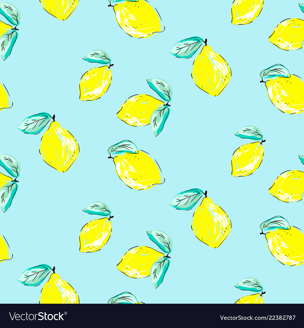 Seamless citrus pattern hand drawn sketched