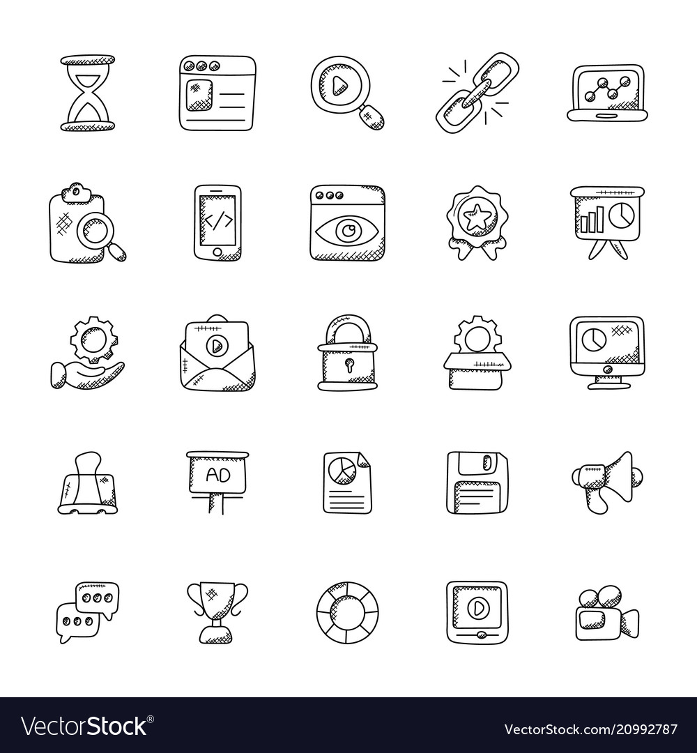 Seo and marketing doodle icons