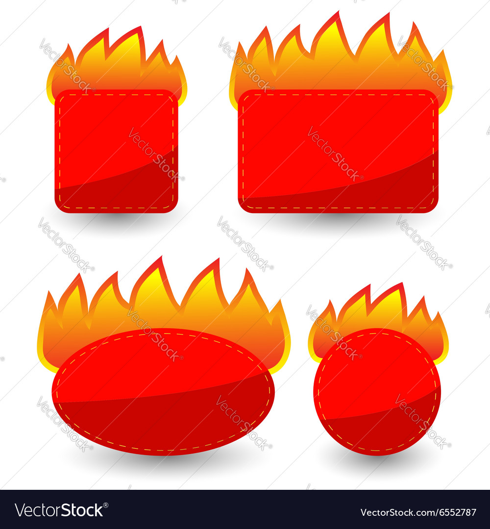 Set of Burning Paper Red Stickers vector image