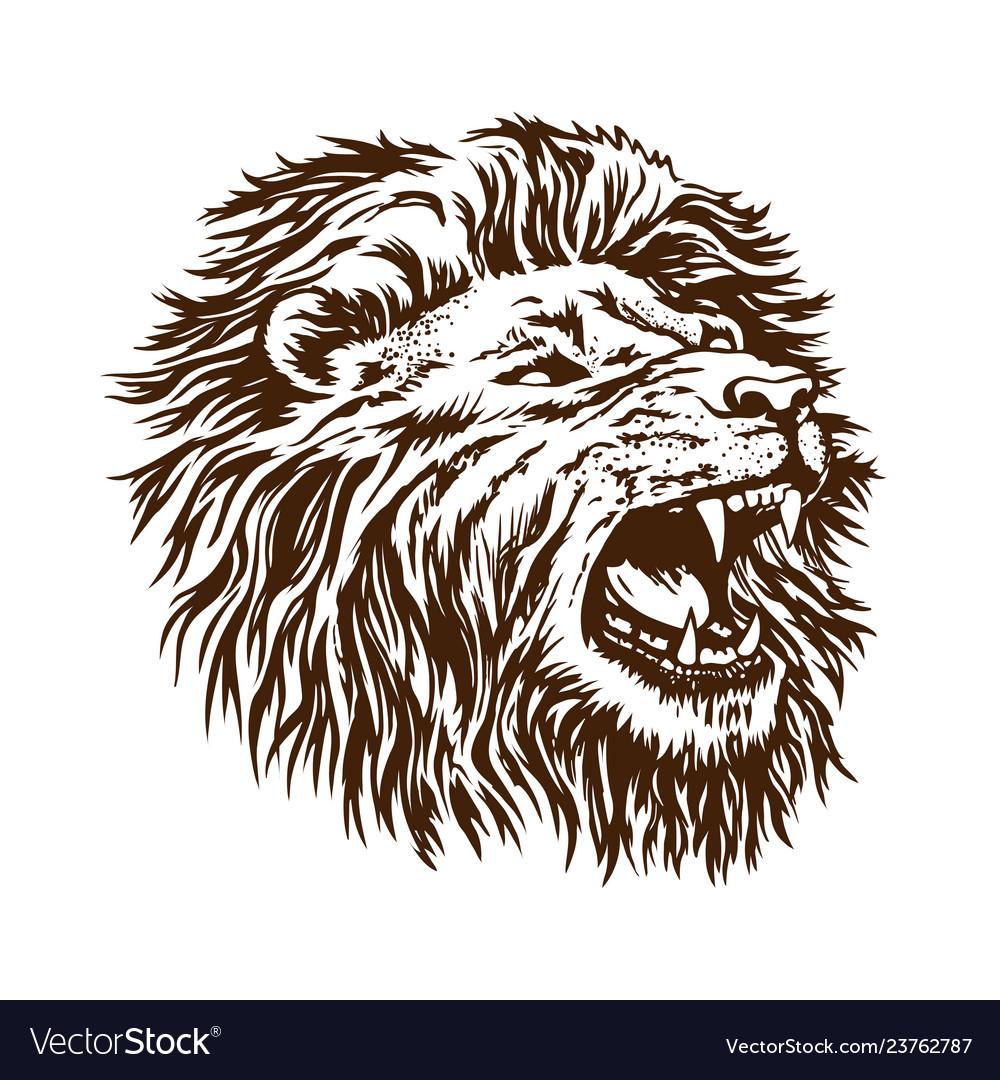 Sketch lion head grin open mouth beast is