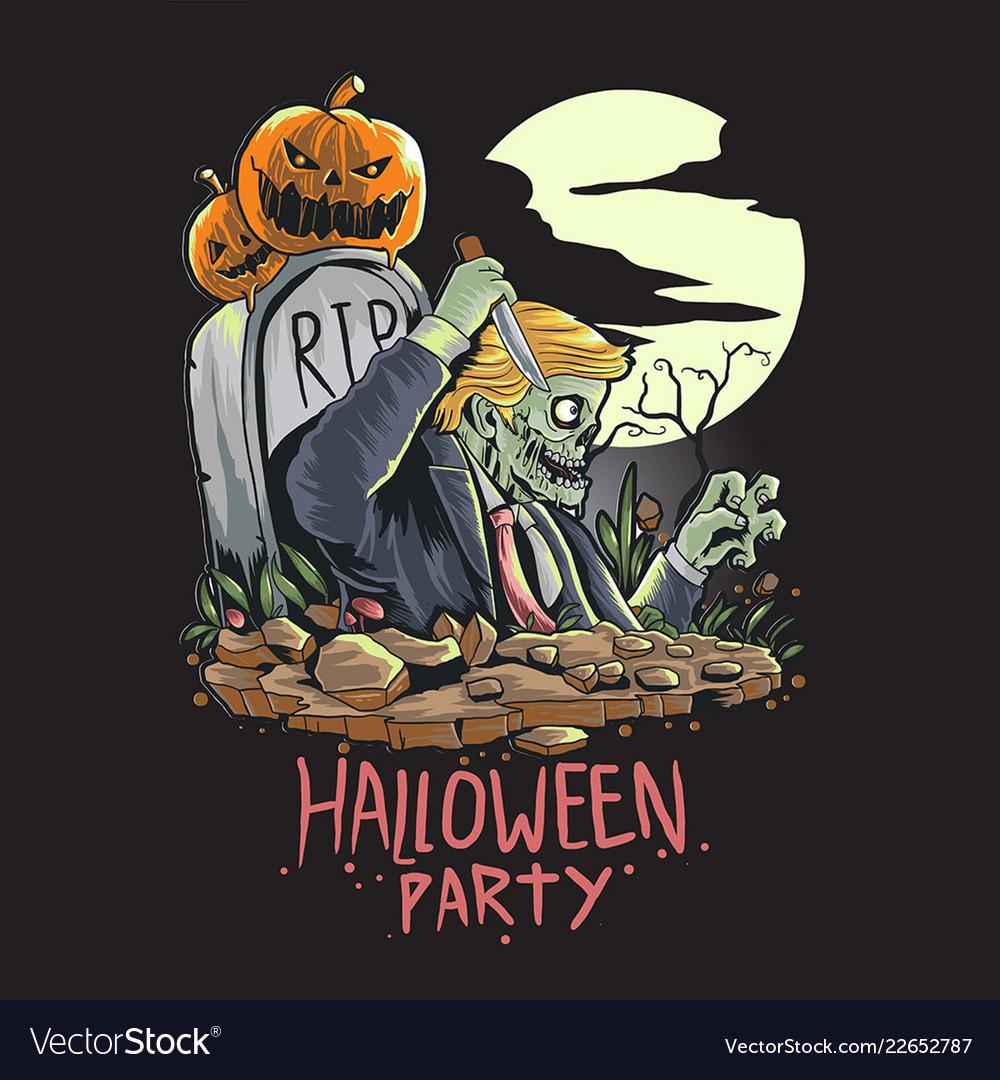Skull zombie halloween