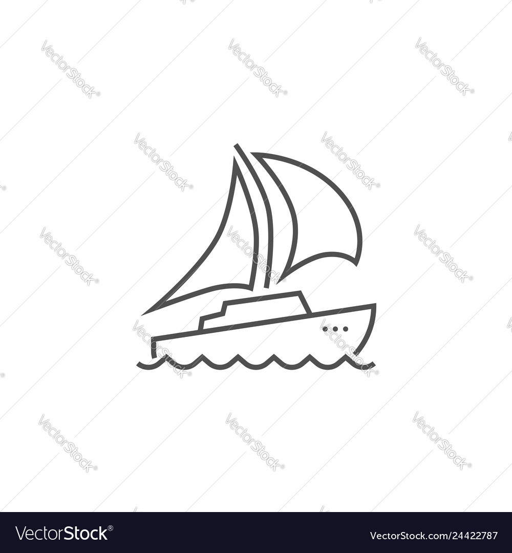 Yacht related line icon