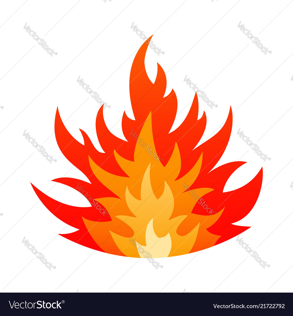 Cartoon blazing fire flame safety sign concept