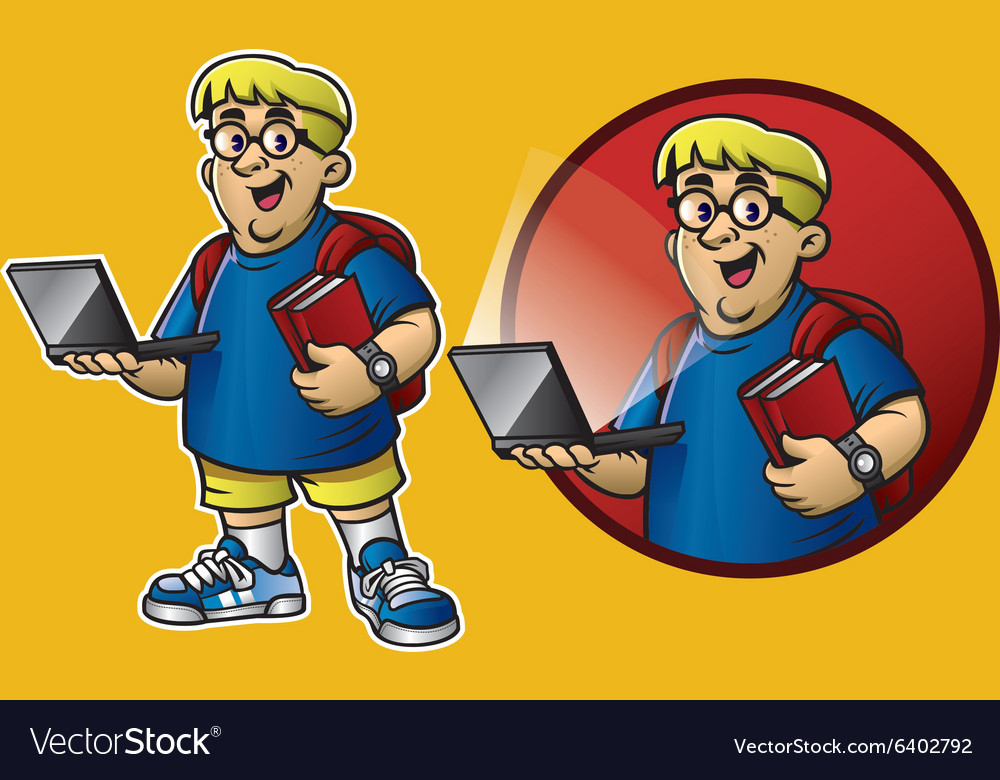 Cartoon of genius boy bring the laptop and books vector image