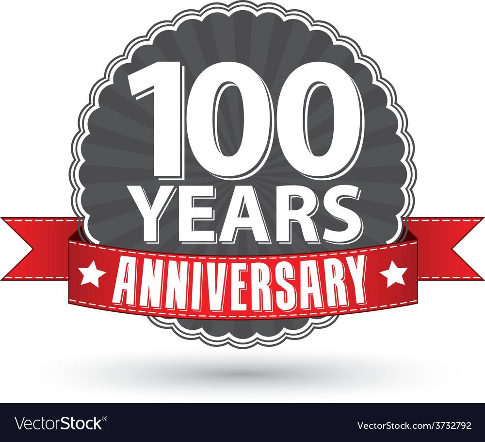 Celebrating 100 years anniversary retro label with