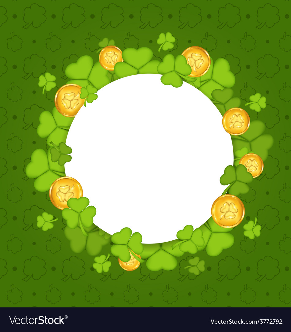 Celebration card with shamrocks and golden coins