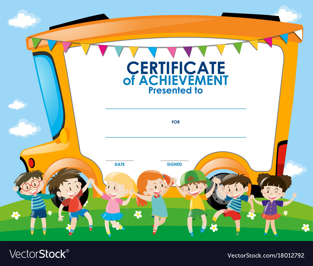 Certificate Template With Children And School Bus Vector Image