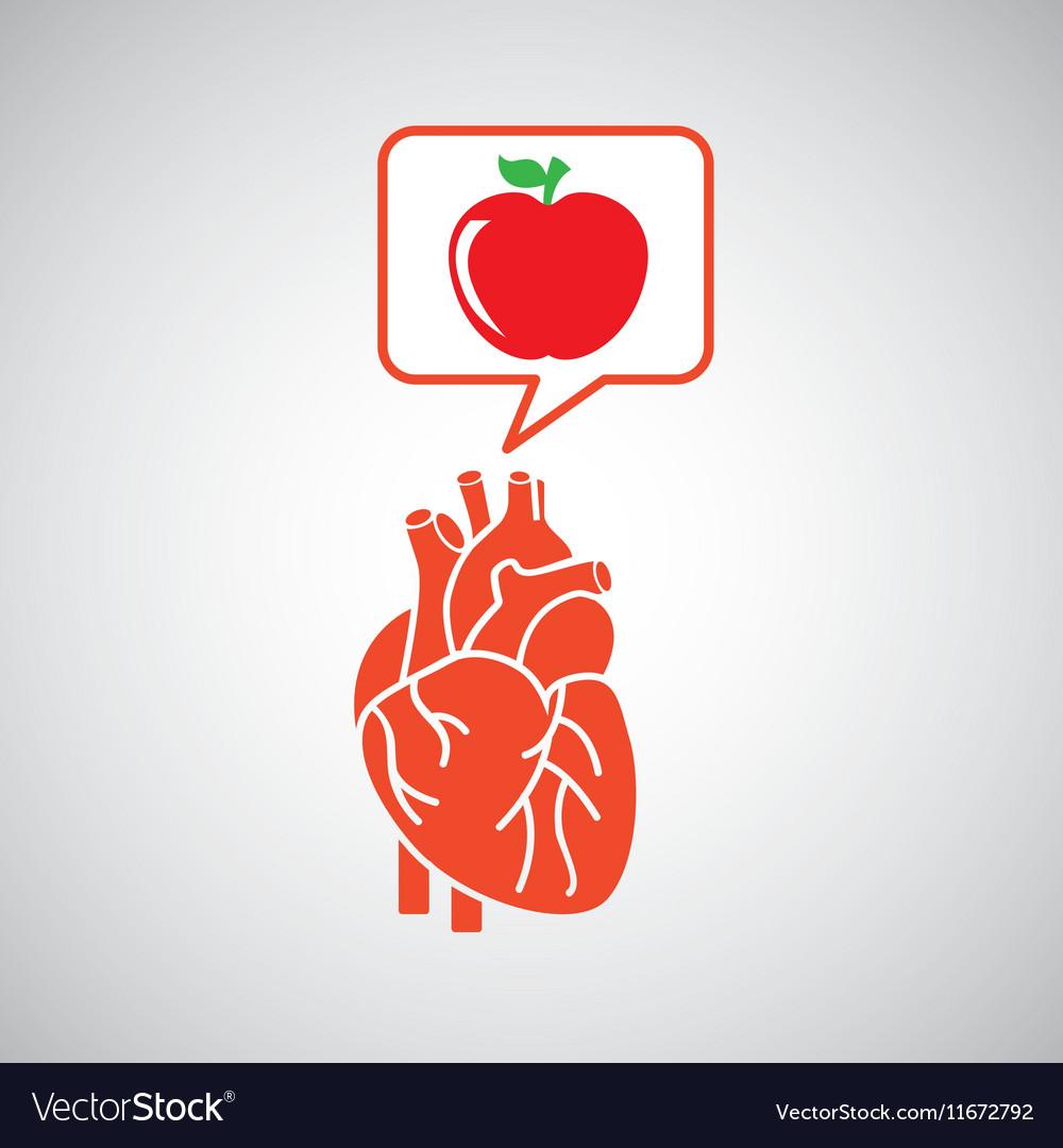 Concept healthy heart delicious apple food icon vector image