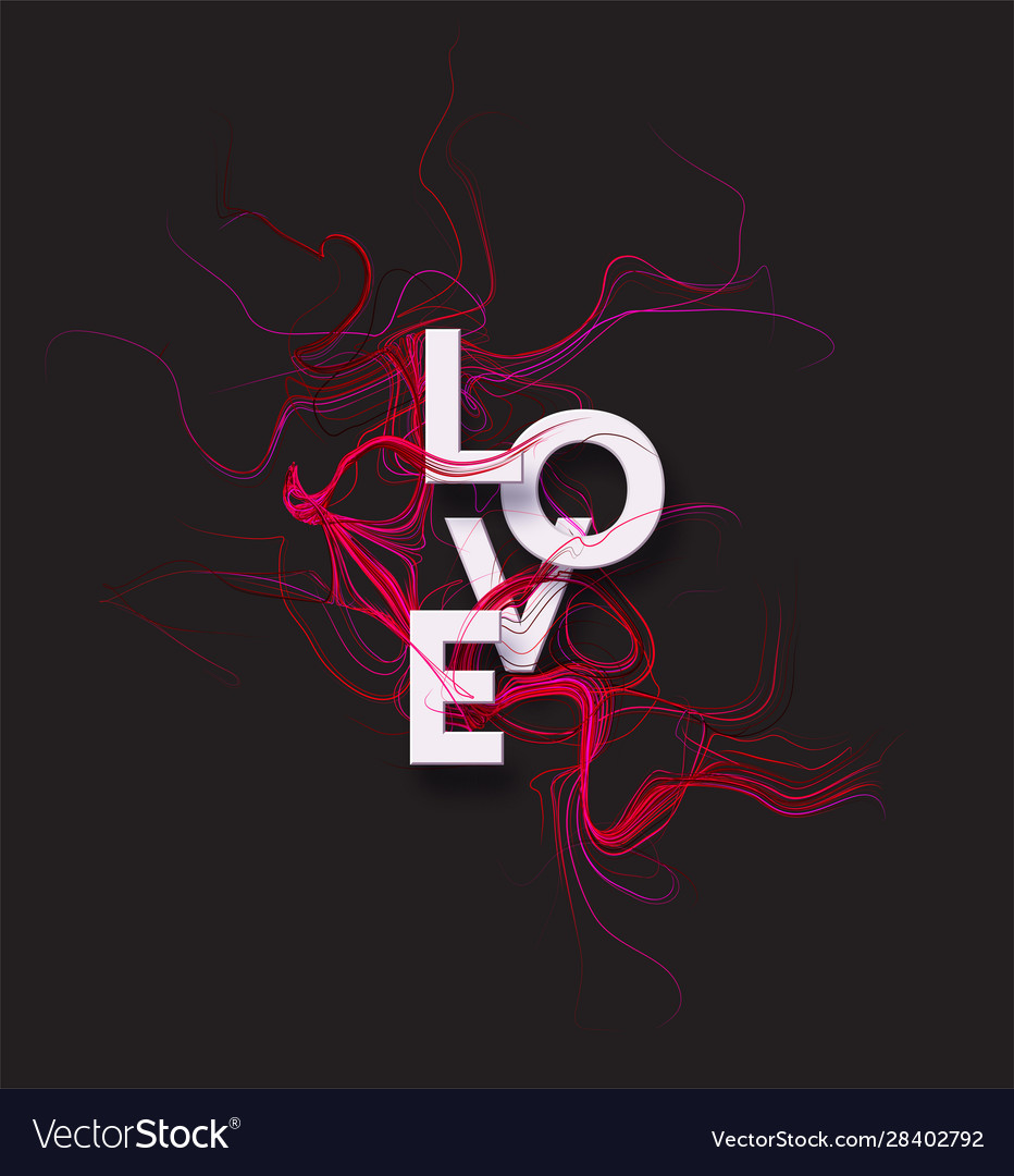 Cut paper letters word love on red