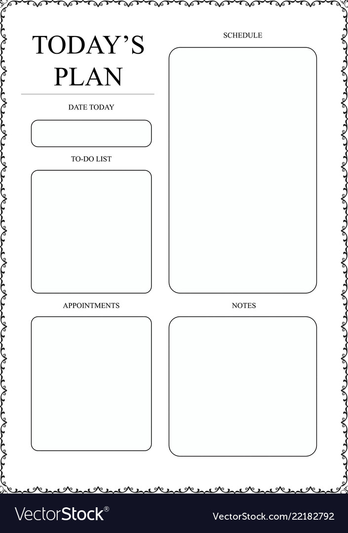 Daily planner template ready for print with space