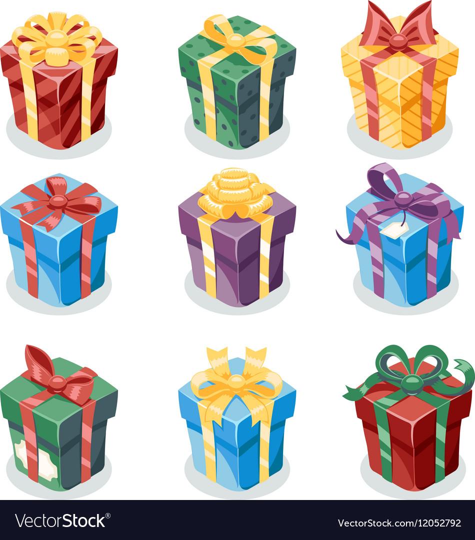 Gift Box New Year Cartoon Flat Design Icon Set