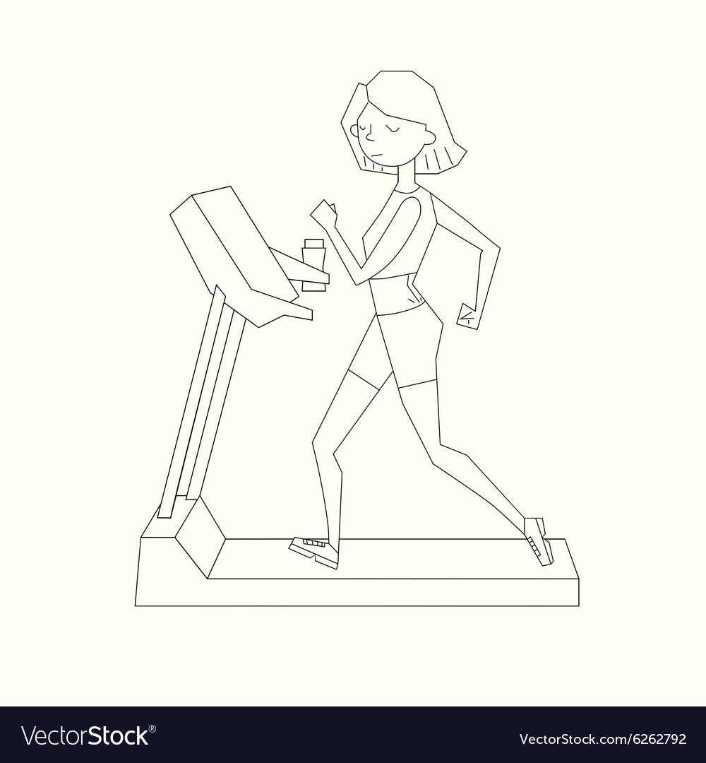 Girl run treadmill black and white color