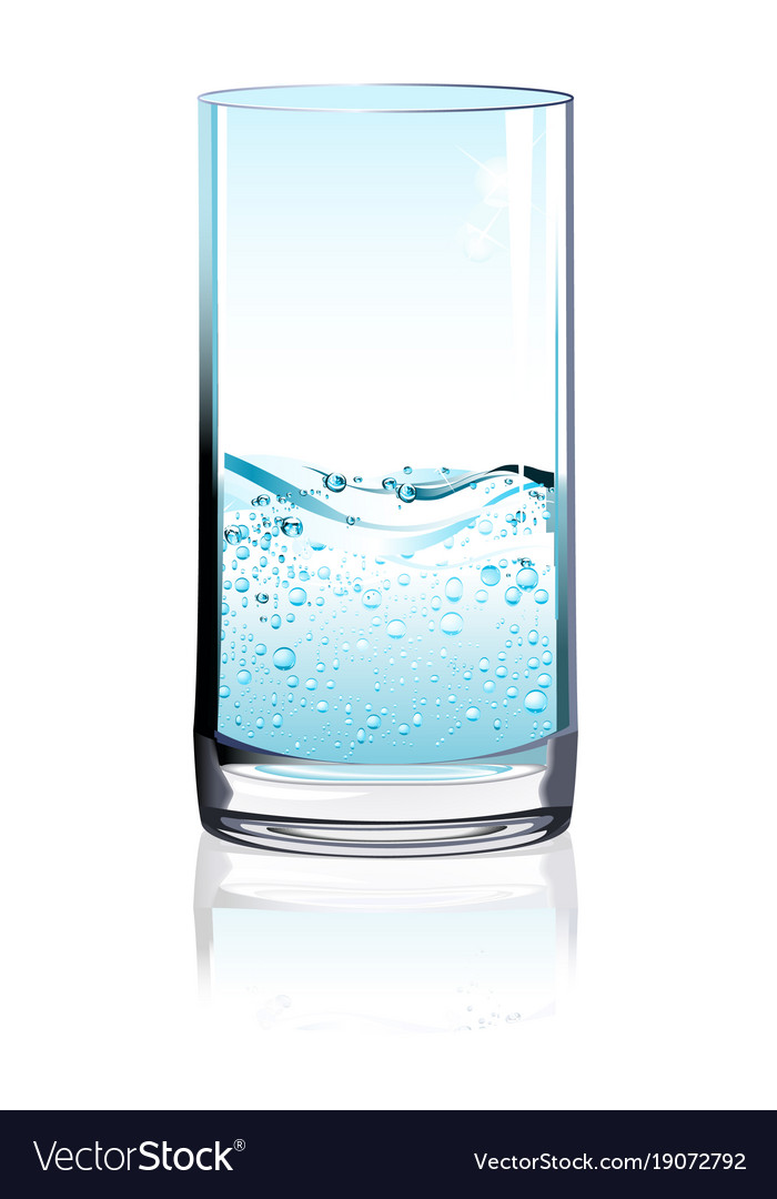 Glass of water with fizz on light background vector image