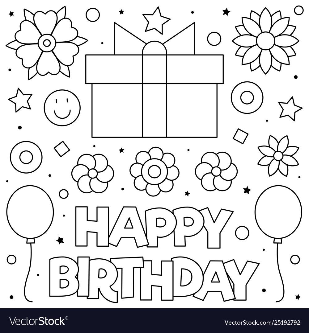 Happy birthday present coloring page