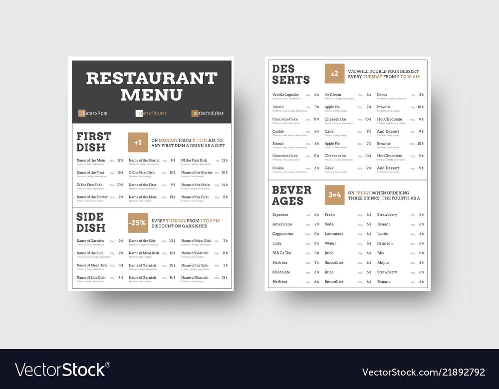 Menu template for cafes or restaurants