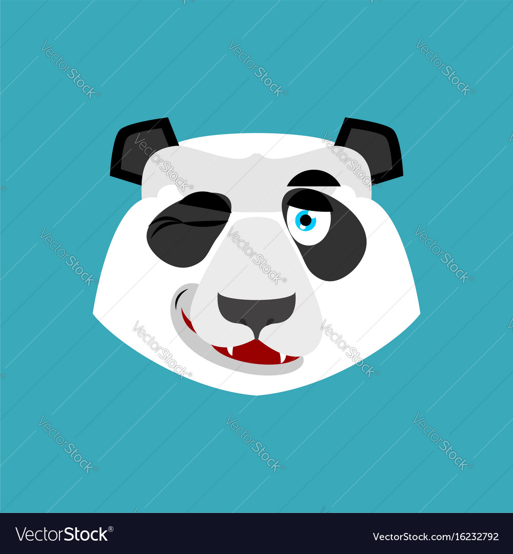 Panda winking emoji chinese bear happy emotion