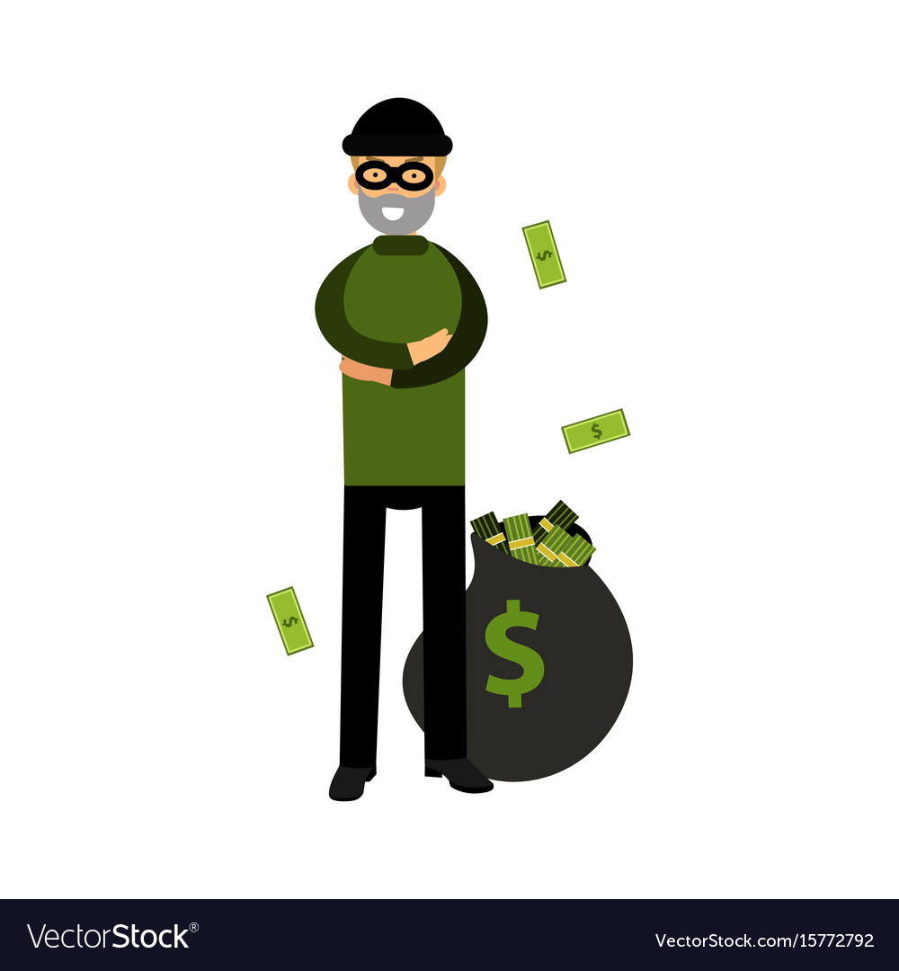Robber character standing with folded arms and big
