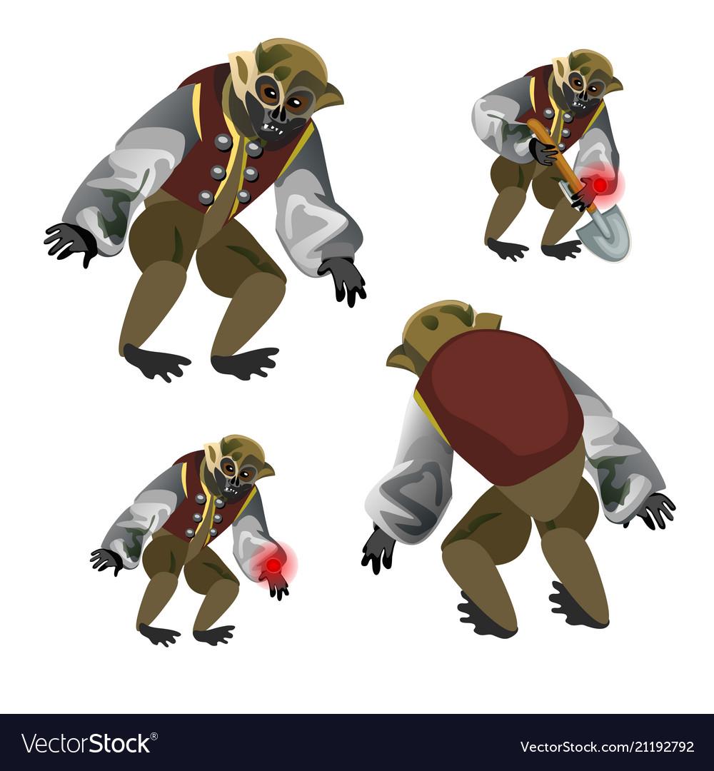 Set fantasy zombie monkey isolated on white
