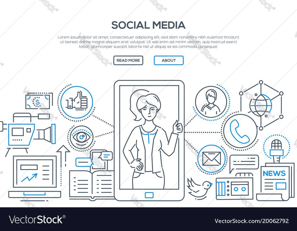 Social media - modern line design style vector image