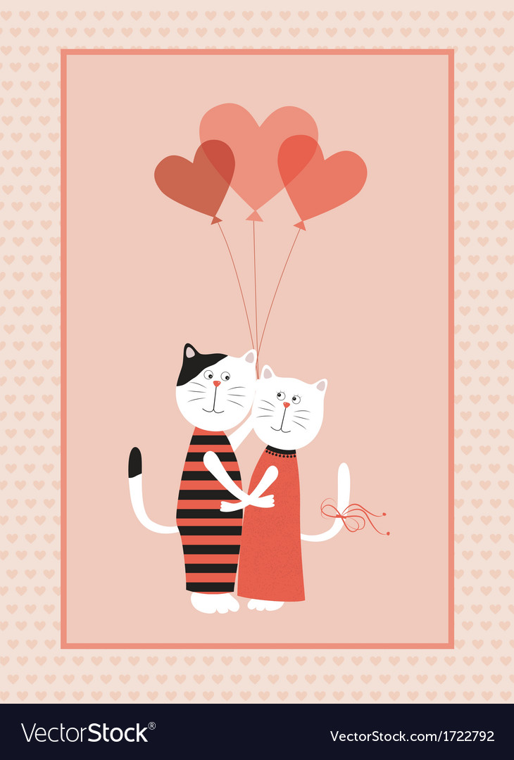 Two cats in love with balloons vector image