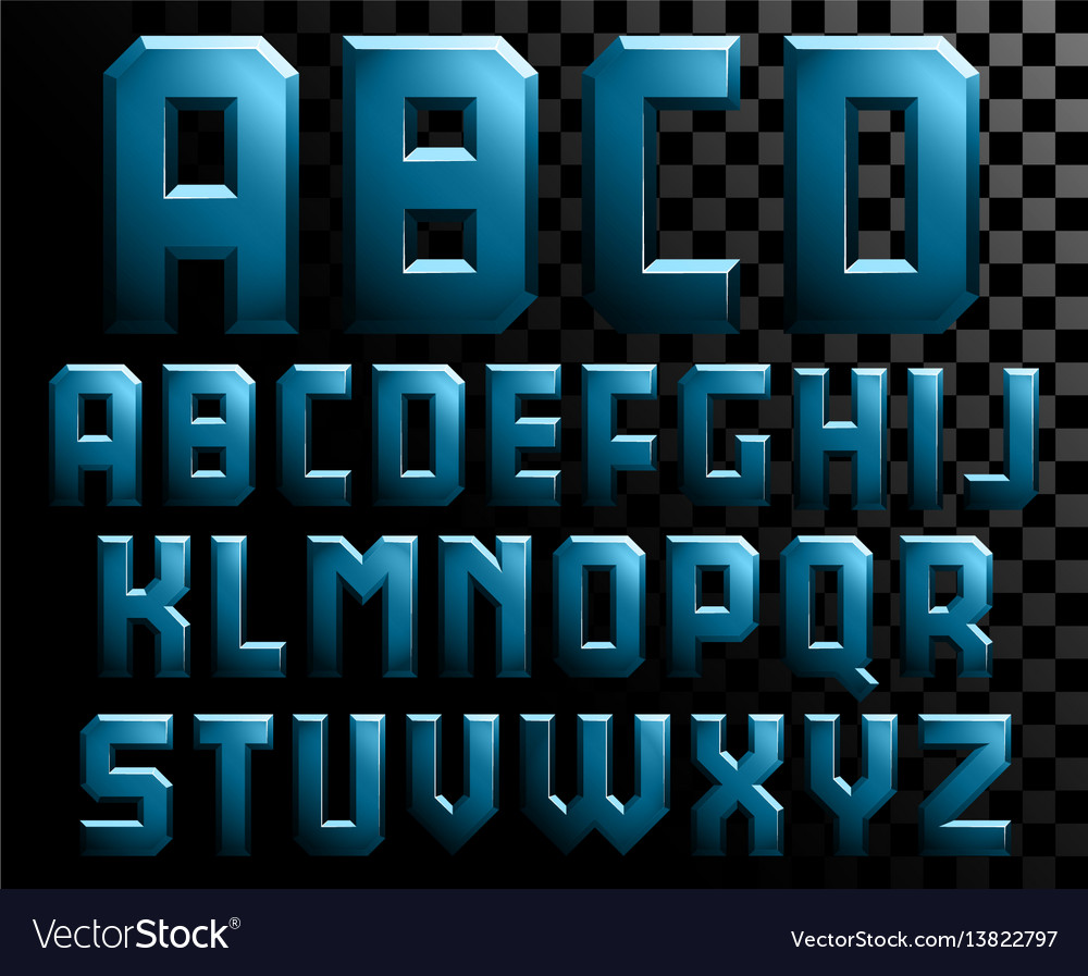 Alphabet of metal letters