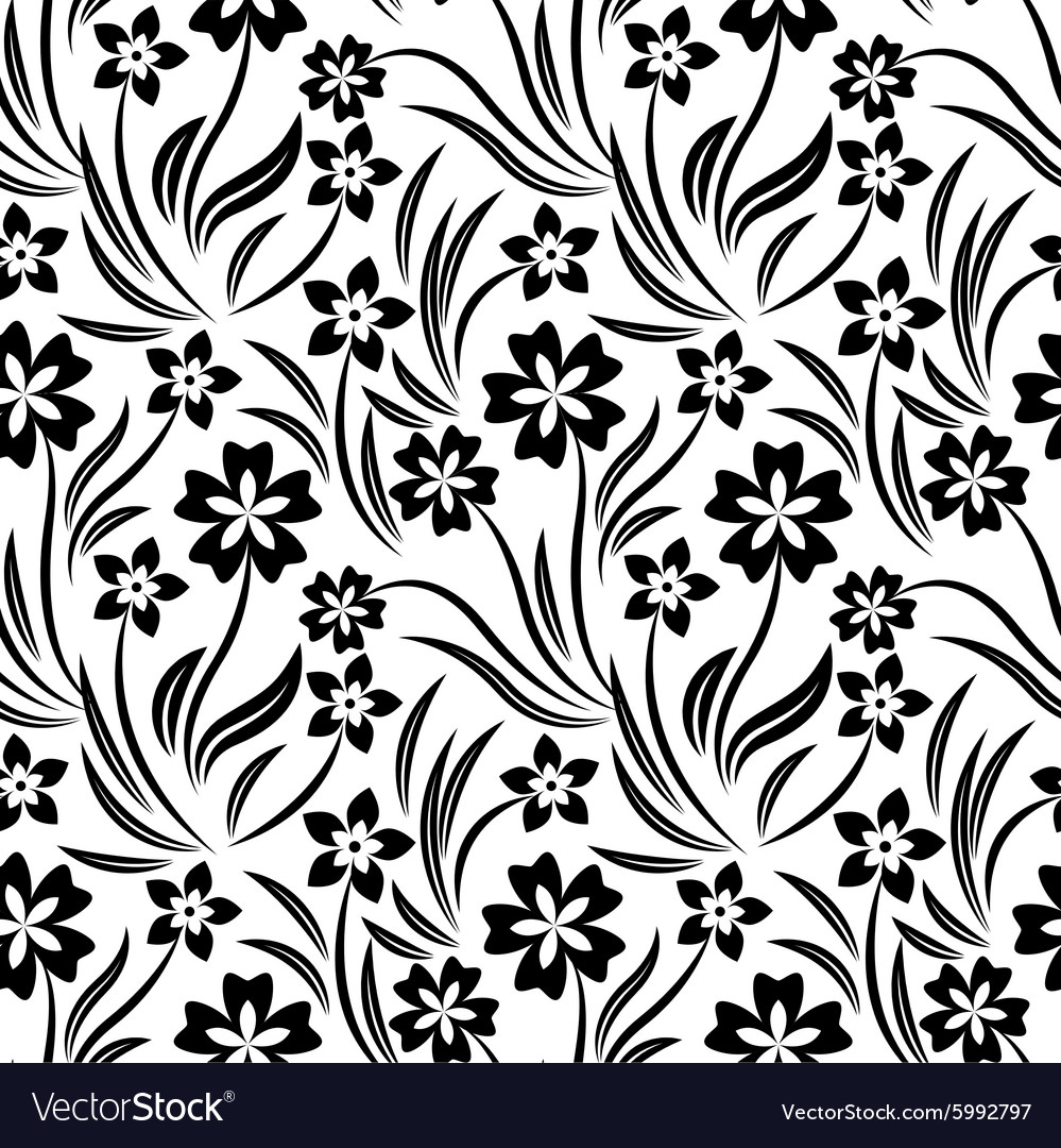 Black And White Flower Pattern Royalty Free Vector Image