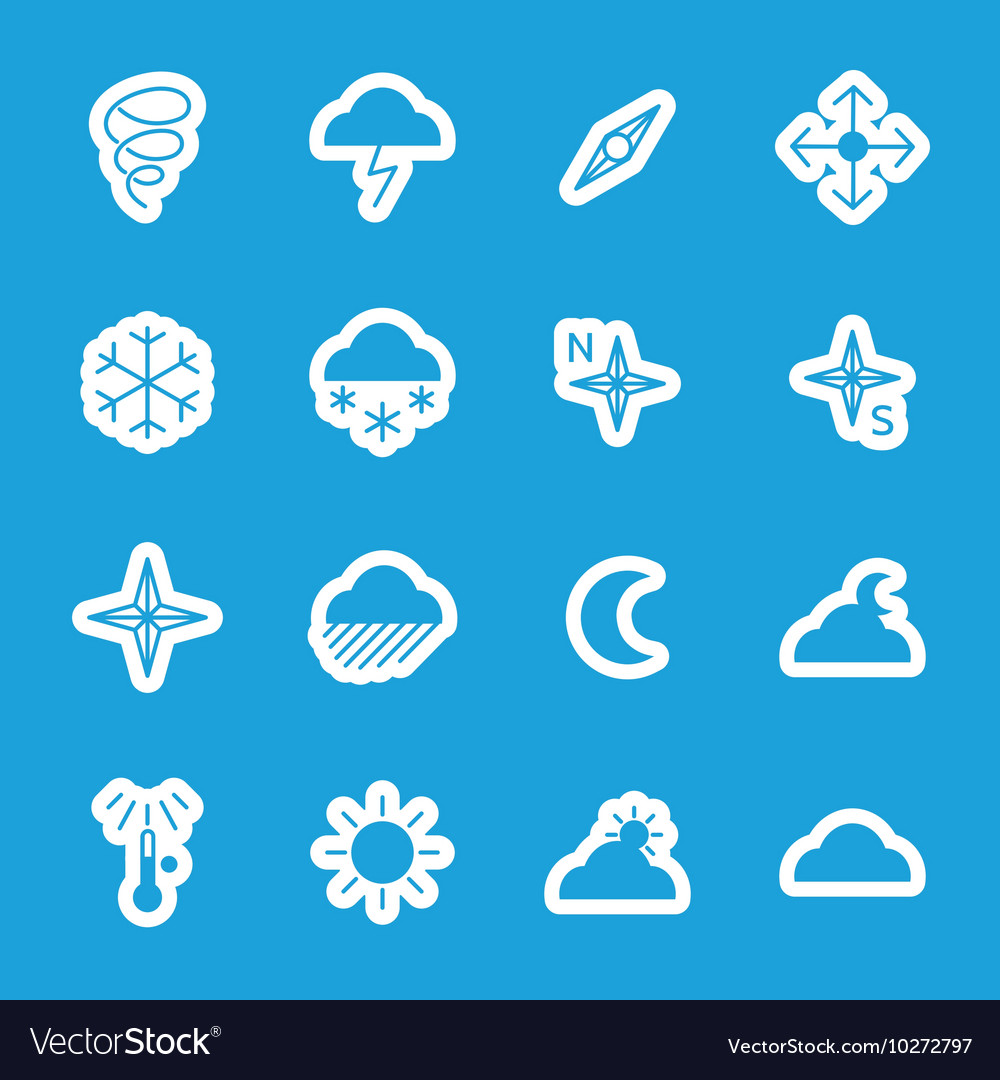 Flat weather stickers set
