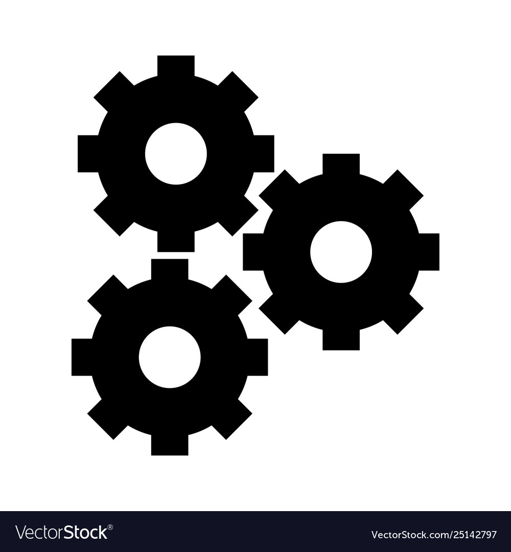 Gears icon cartoon in black and white Royalty Free Vector