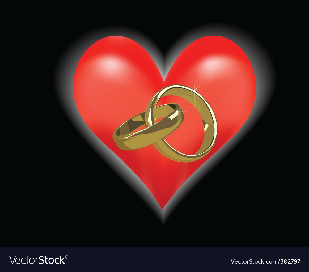 Description gold wedding rings on a black background and red heart
