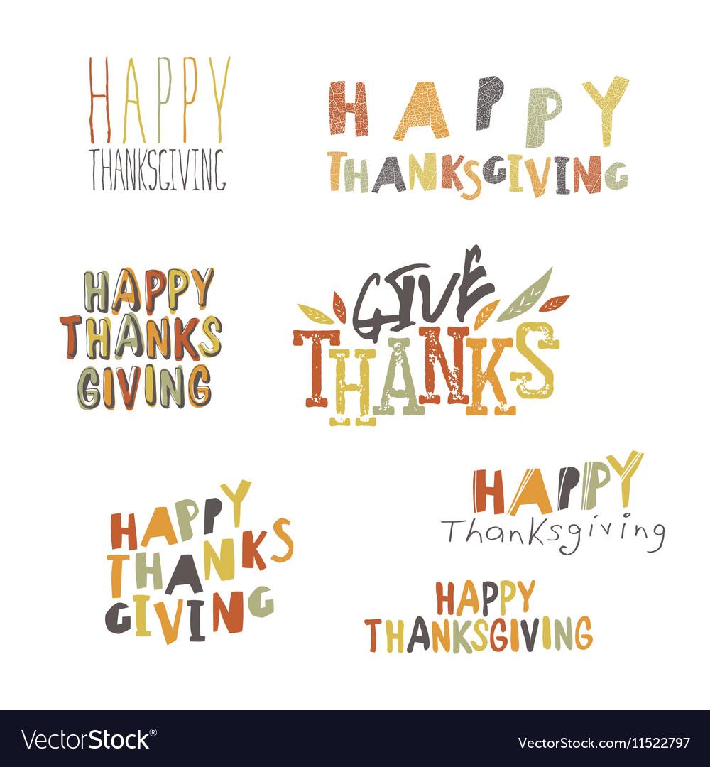 Happy Thanksgiving logotypes set