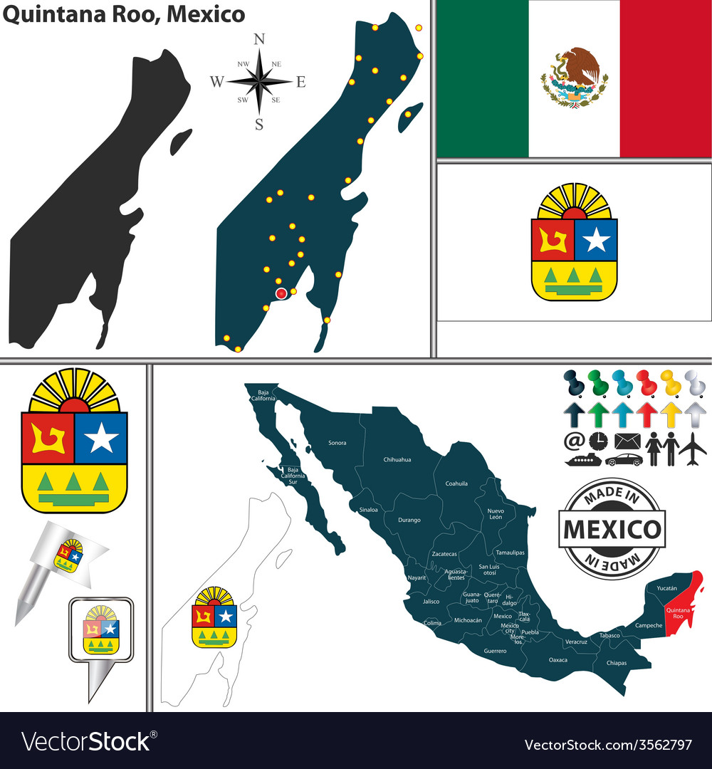 Map Of Quintana Roo Royalty Free Vector Image Vectorstock