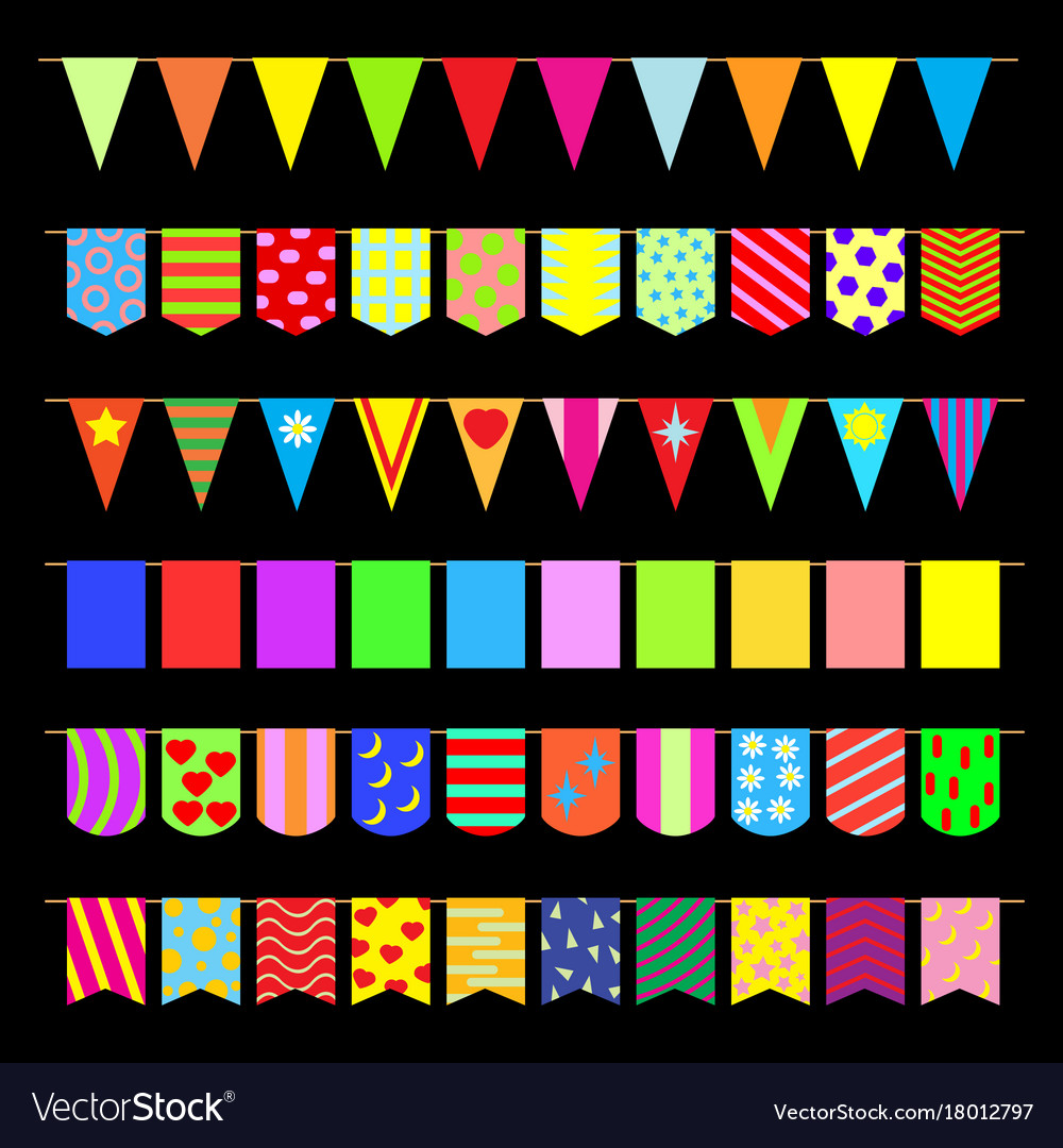 Set garlands of colored flags