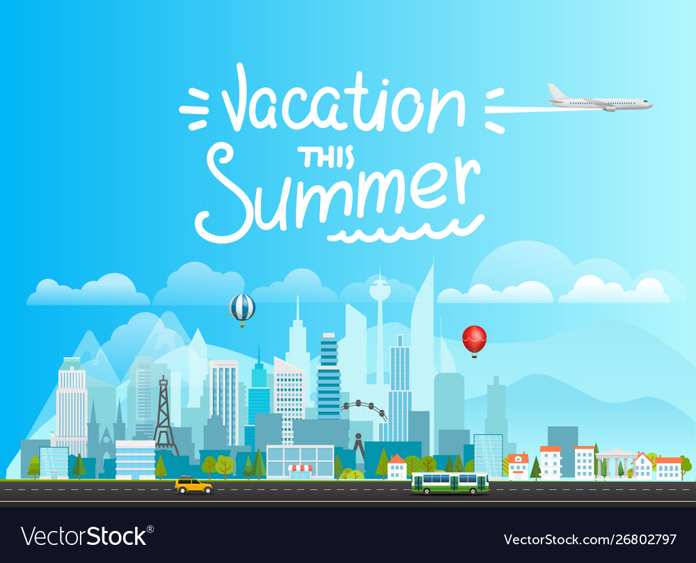 Summer vacation concept landscape with buildings