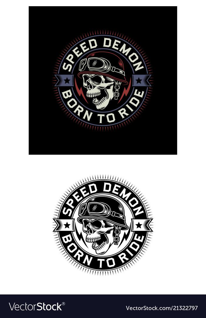 Vintage biker skull emblem on black and white