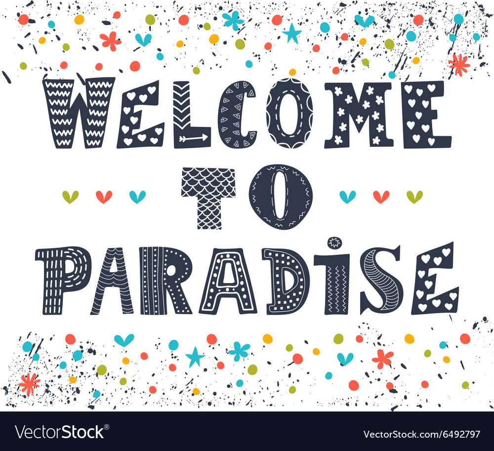 Welcome to paradise poster design Cute greeting