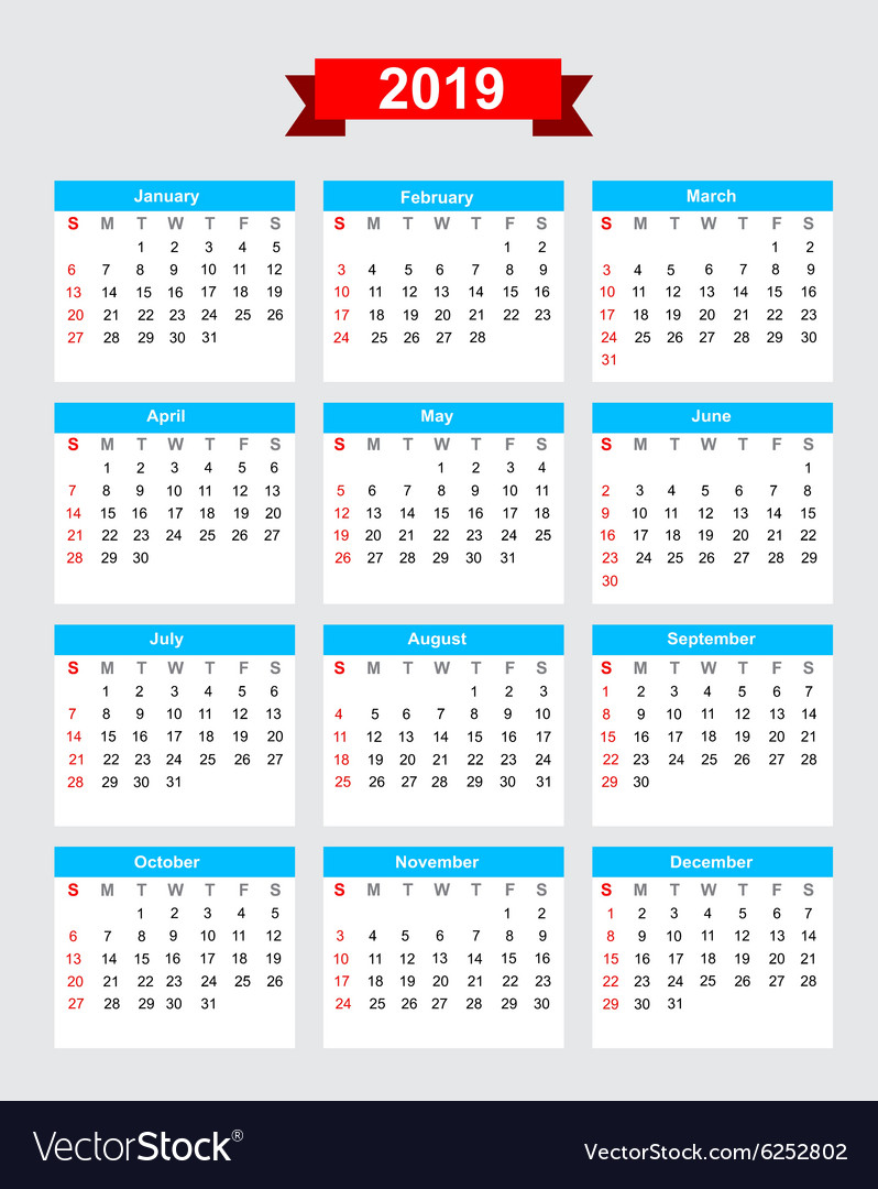 2019 calendar week start sunday royalty free vector image