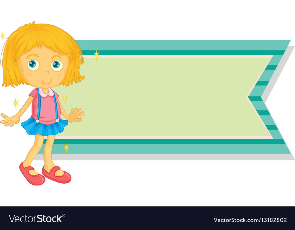 banner template with little girl vector image