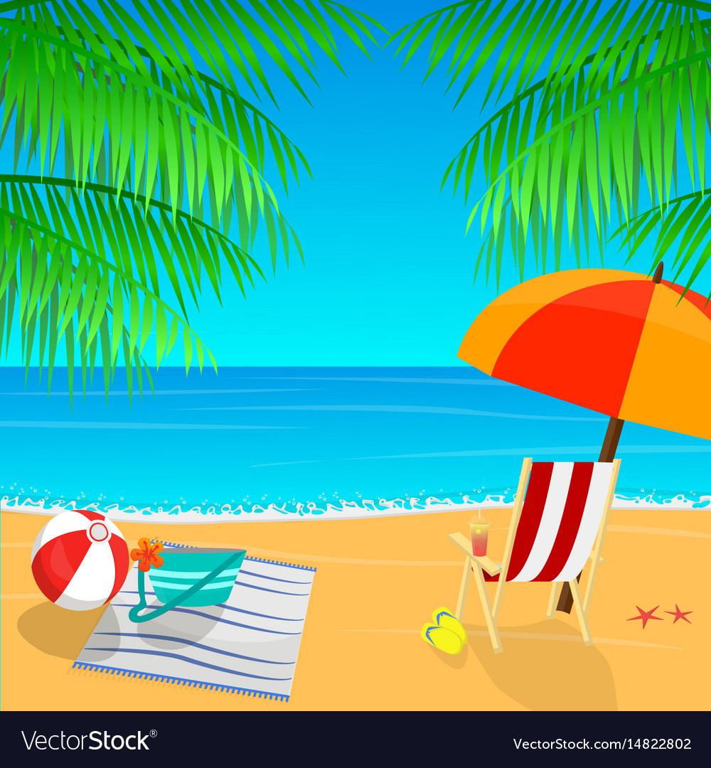 Beach view with an umbrella palm leaves and