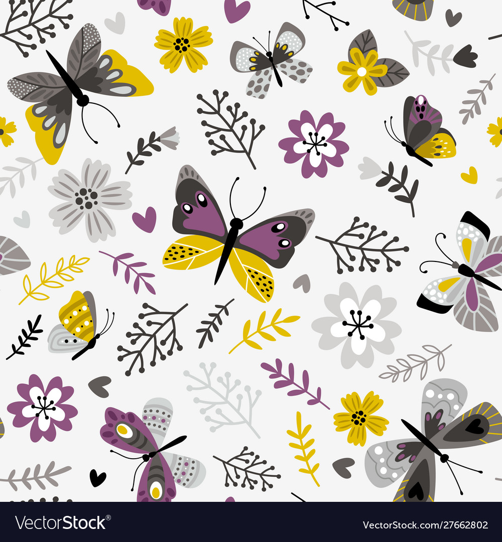 Butterflies and sprigs pattern