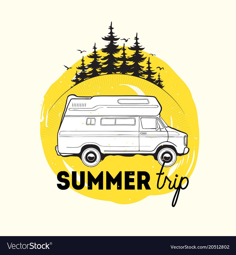 Camper Trailer Or Campervan Driving Against Spruce Vector Image