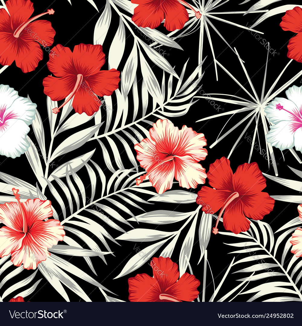 Color hibiscus on black white leaves seamless