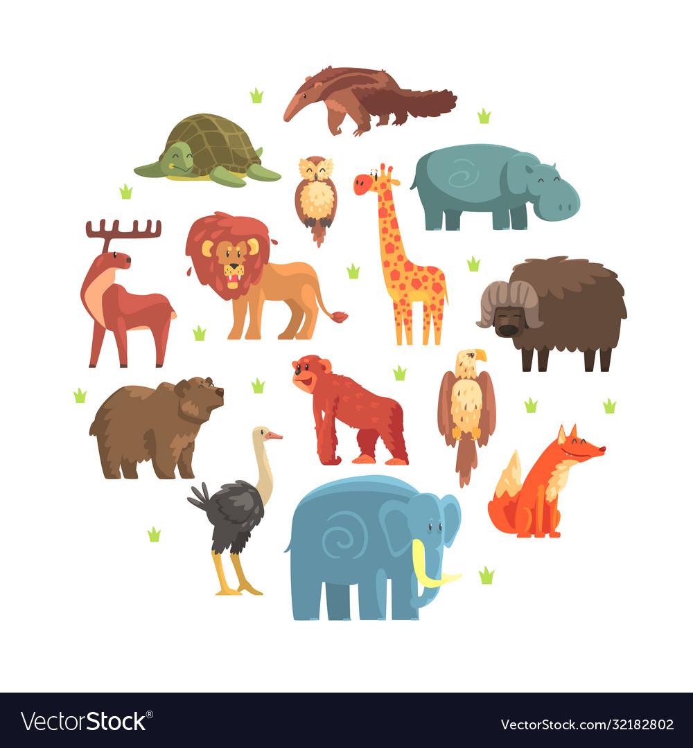 Cute wild jungle animals round shape zoo park