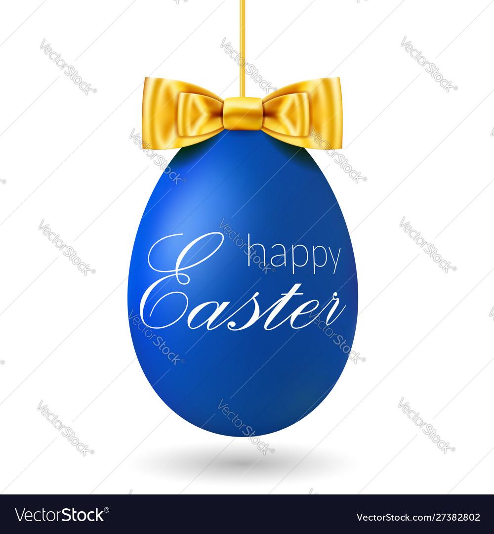 Easter egg 3d blue hanging egg white text gold