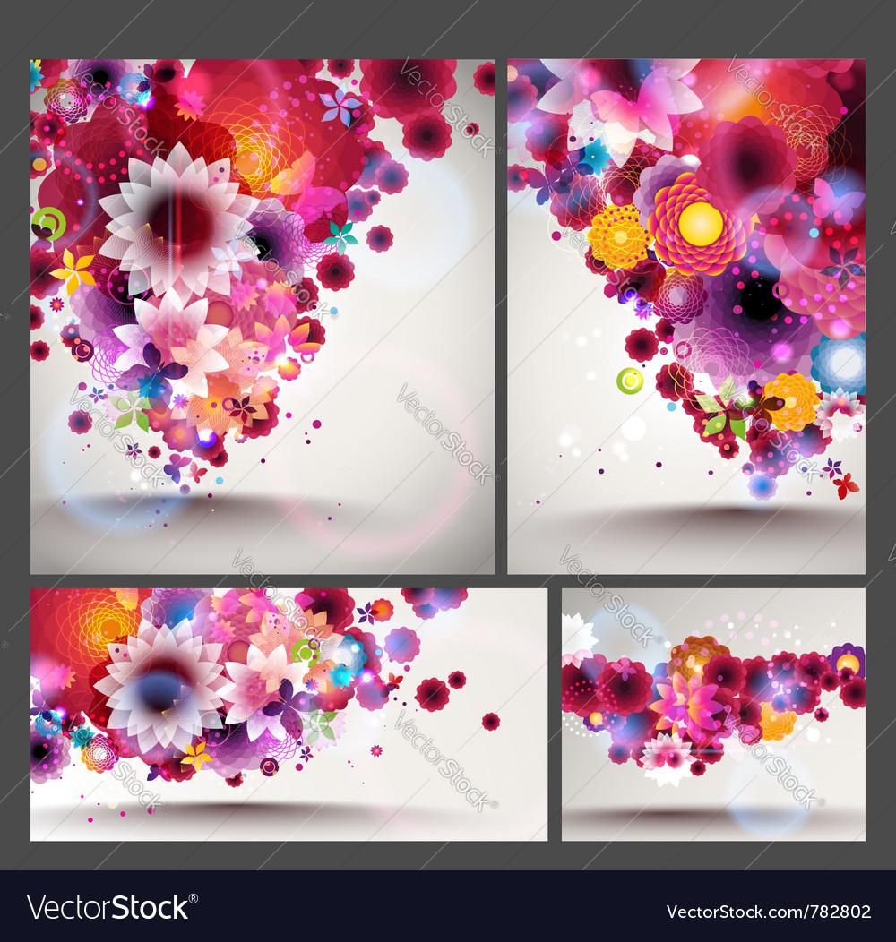 Flower spring background set