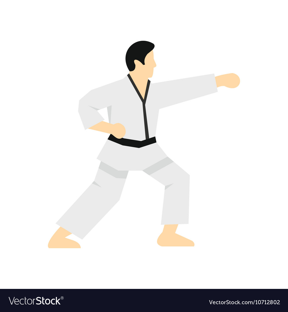 Karate Fighter Icon Flat Style Royalty Free Vector Image