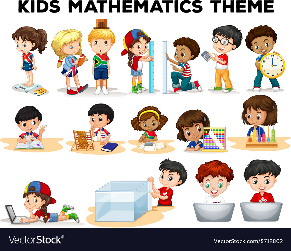 Kids solving math problems Royalty Free Vector Image