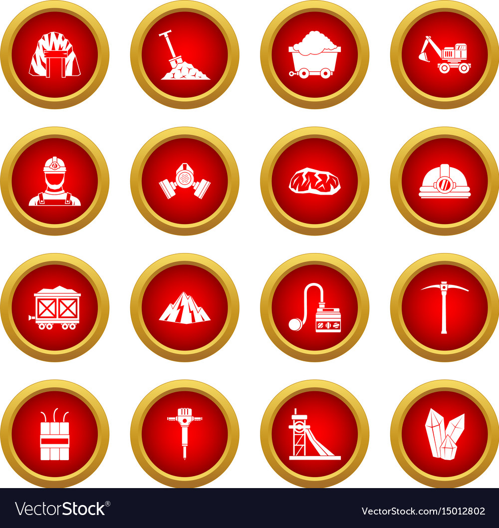Miner icon red circle set vector image