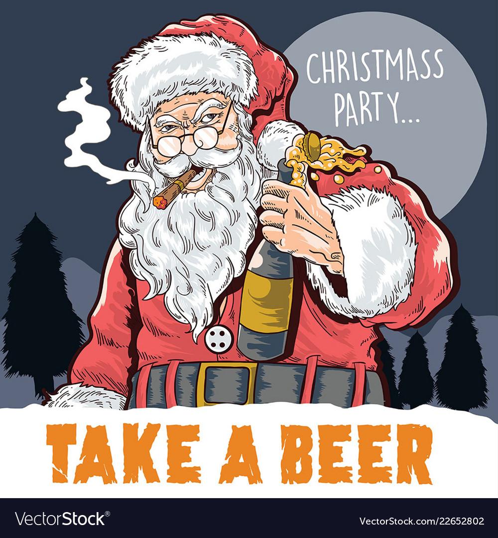 Santa claus drink beer