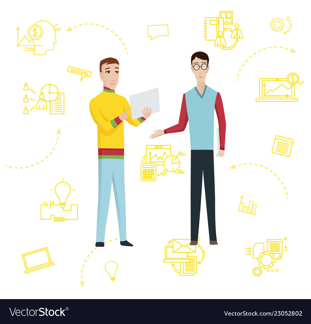 Two smiling businessman with bag flat